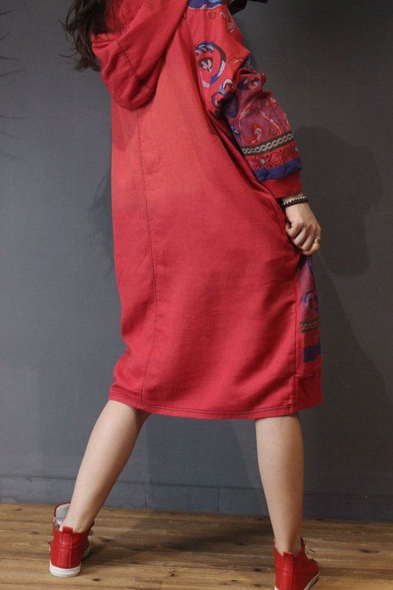 ee51f2e9b6ee Women Hooded Maxi dress long sleeved dress Loose bottoming
