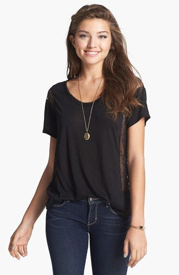 Chloe K Lace Inset Tee (Juniors) available at #Nordstrom