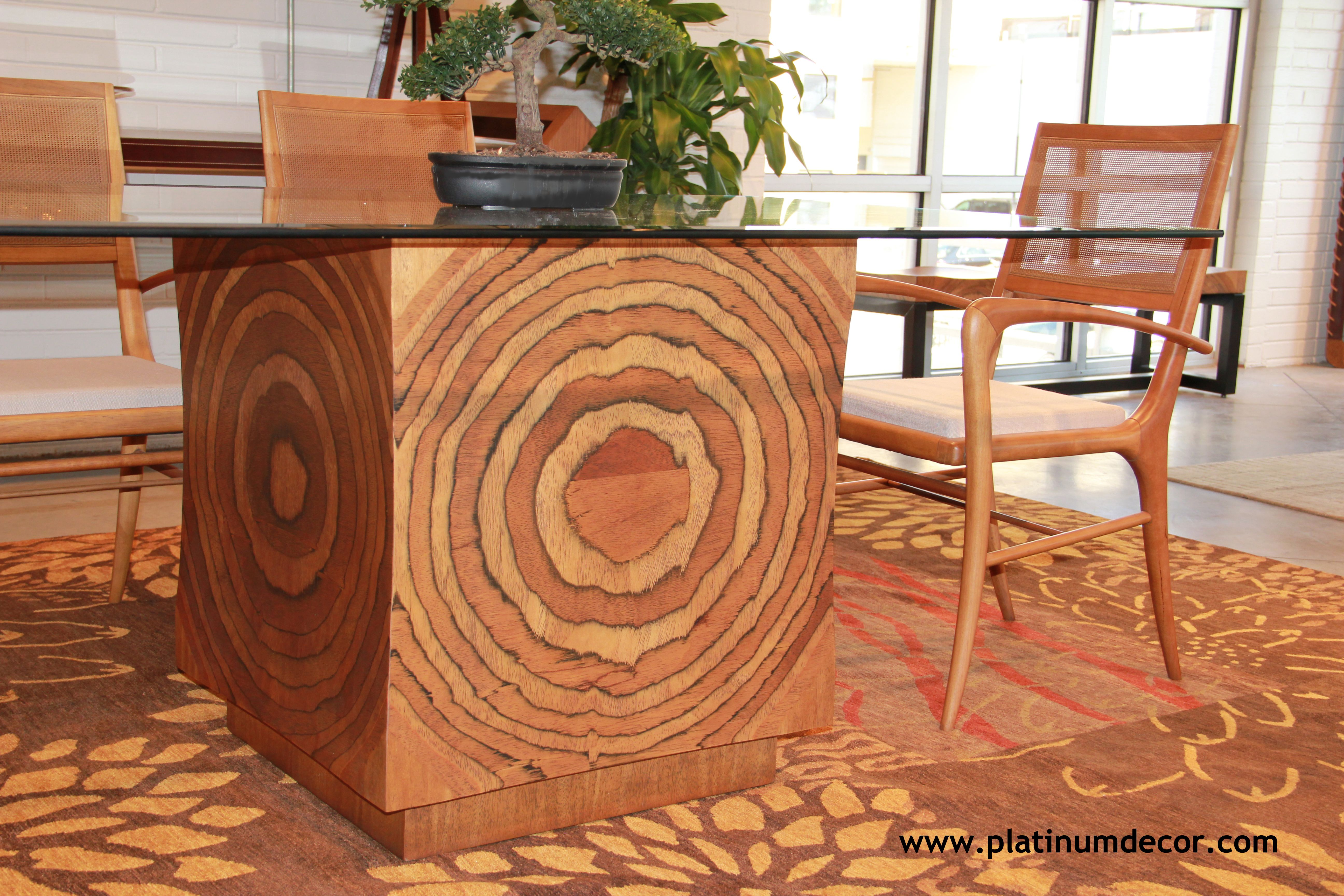 Contemporary dining table bases  Loas Dining Table Base is made from our accent board that mimics the