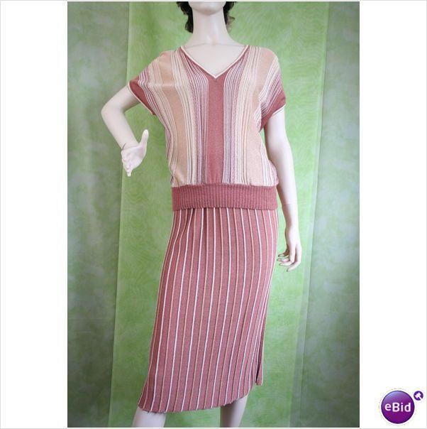 Vintage 1970 1980 Knit Top Skirt Suit Size 12 14 Copper Gold Cream Womens