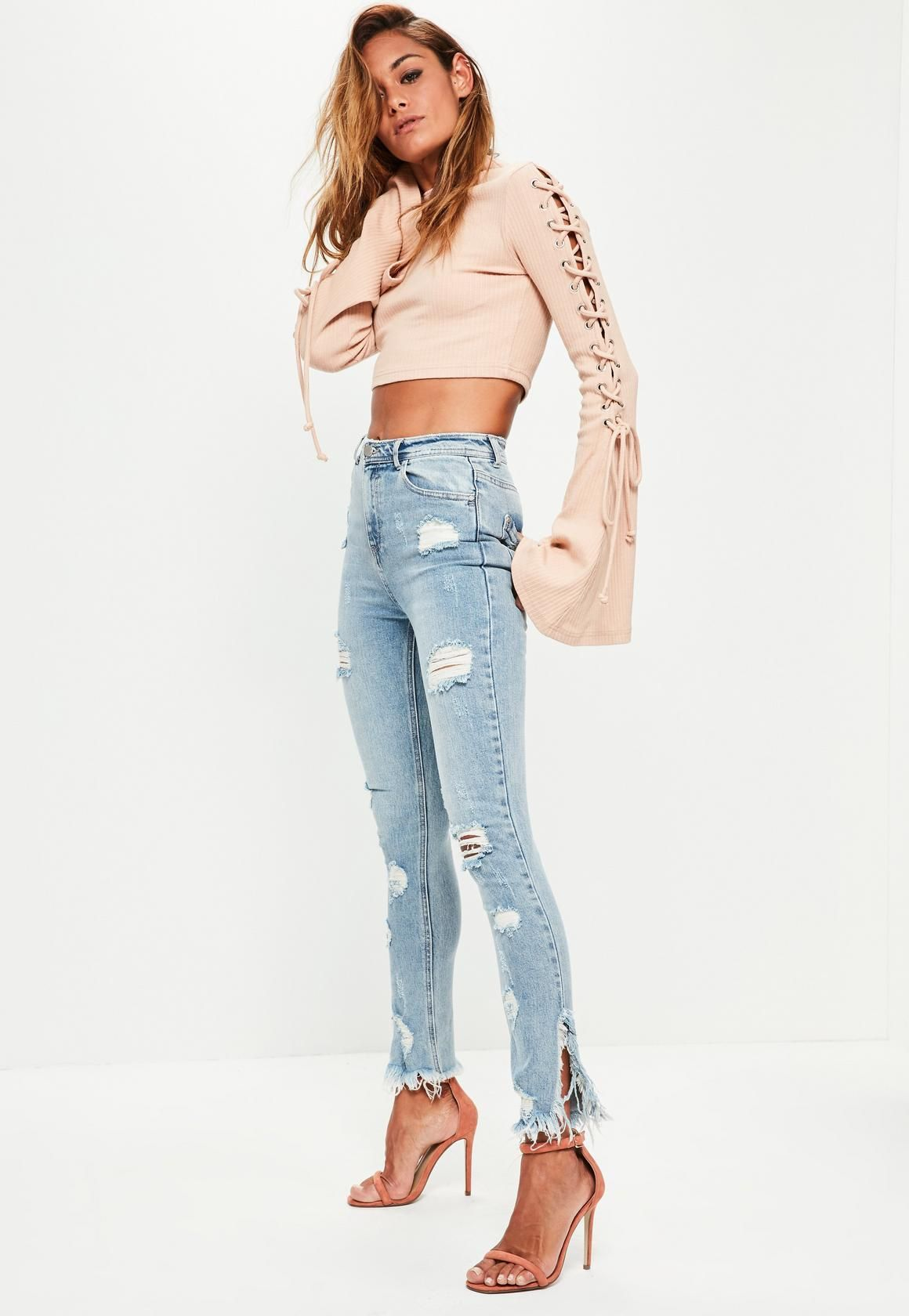 6c8109c5daa5a2 Missguided - Blue Sinner Highwaisted Ripped Skinny Jeans