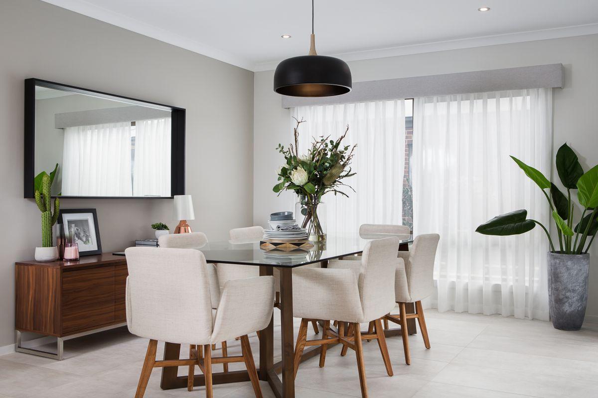 Grey Coloured Pelmet And White Sheer Curtain