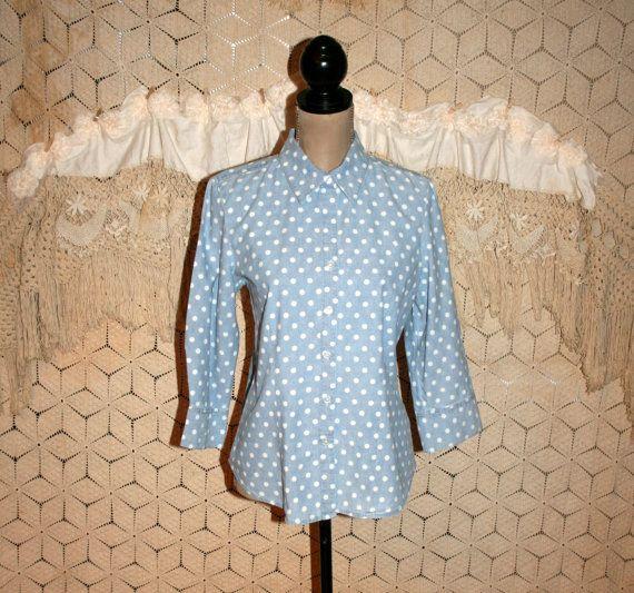 90s Light Blue Shirt 3/4 Sleeve Cotton Blouse by MagpieandOtis