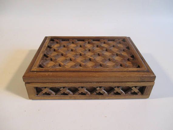 Farrington Jewelry Box Amazing Farrington Jewelry Box Vintage 'Woven' Wood Lattice Lid Keepsake
