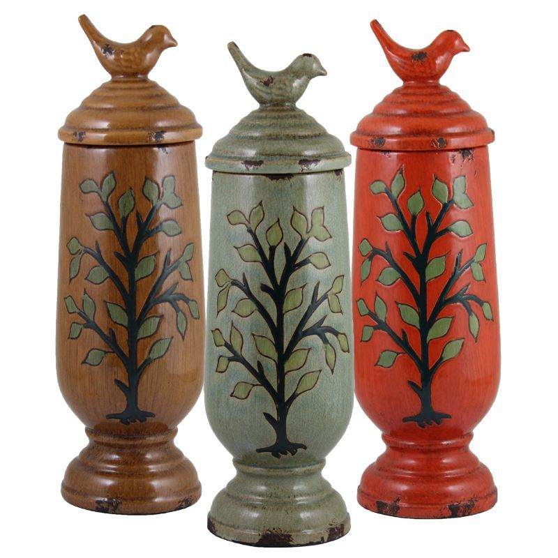 Large Decorative Urns With Lids Assorted Beautiful Ceramic Vasesentrada Set Of 3 Vase