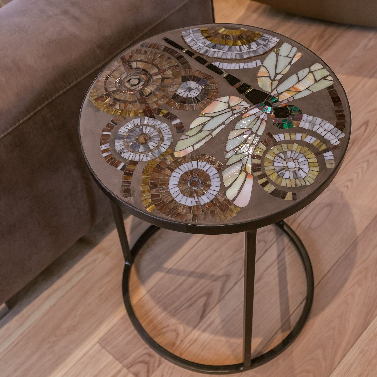 coffee table Dragonfly  Mosaic made from stained glass and