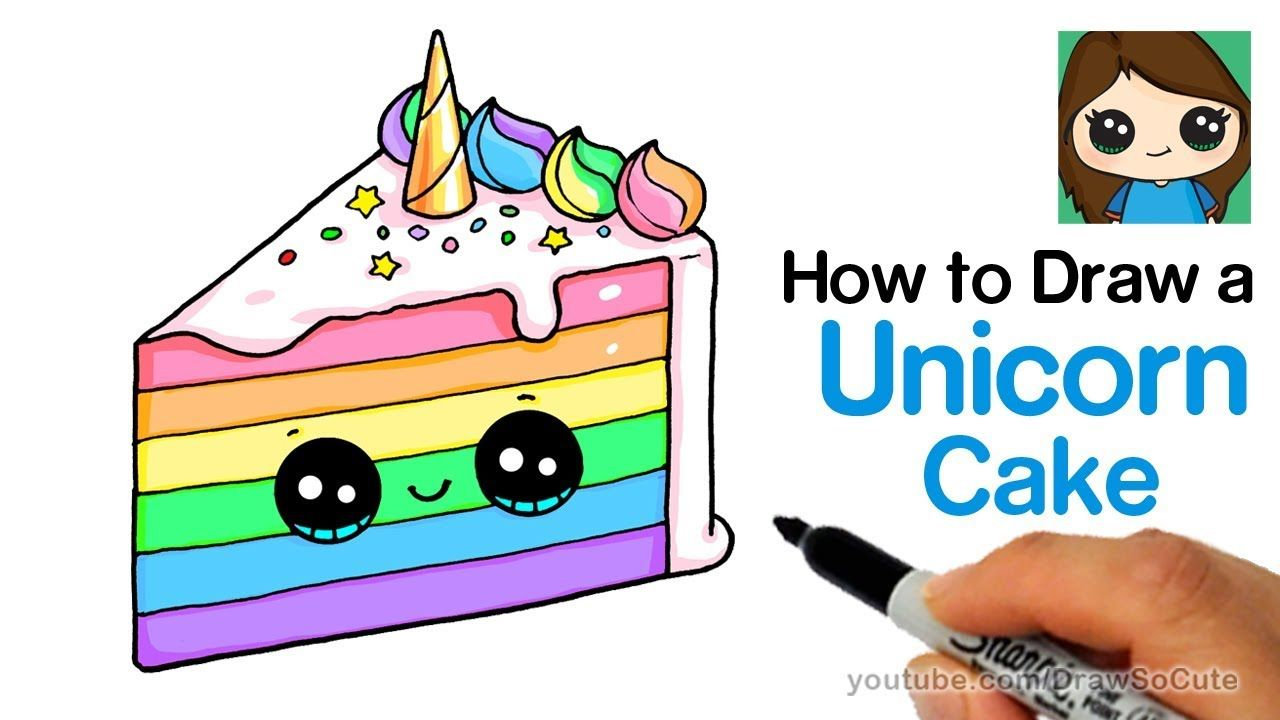 How To Draw A Unicorn Rainbow Cake Slice Easy And Cute Cake