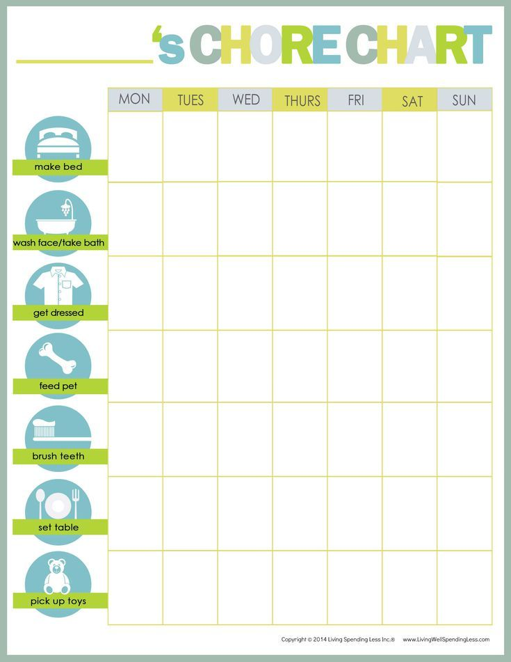 Free Printable Chore Charts for Kids and the Whole Family | Family ...