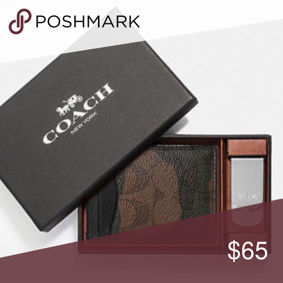 c386139e0b037 Coach 3 in 1 Camoflauge card case money clip set 🔶BRAND NEW WITH TAGS AND