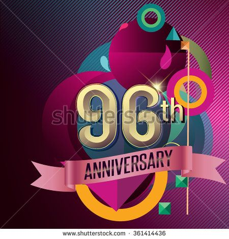 96th Anniversary, Party poster, party invitation - background geometric glowing element. Vector Illustration - stock vector