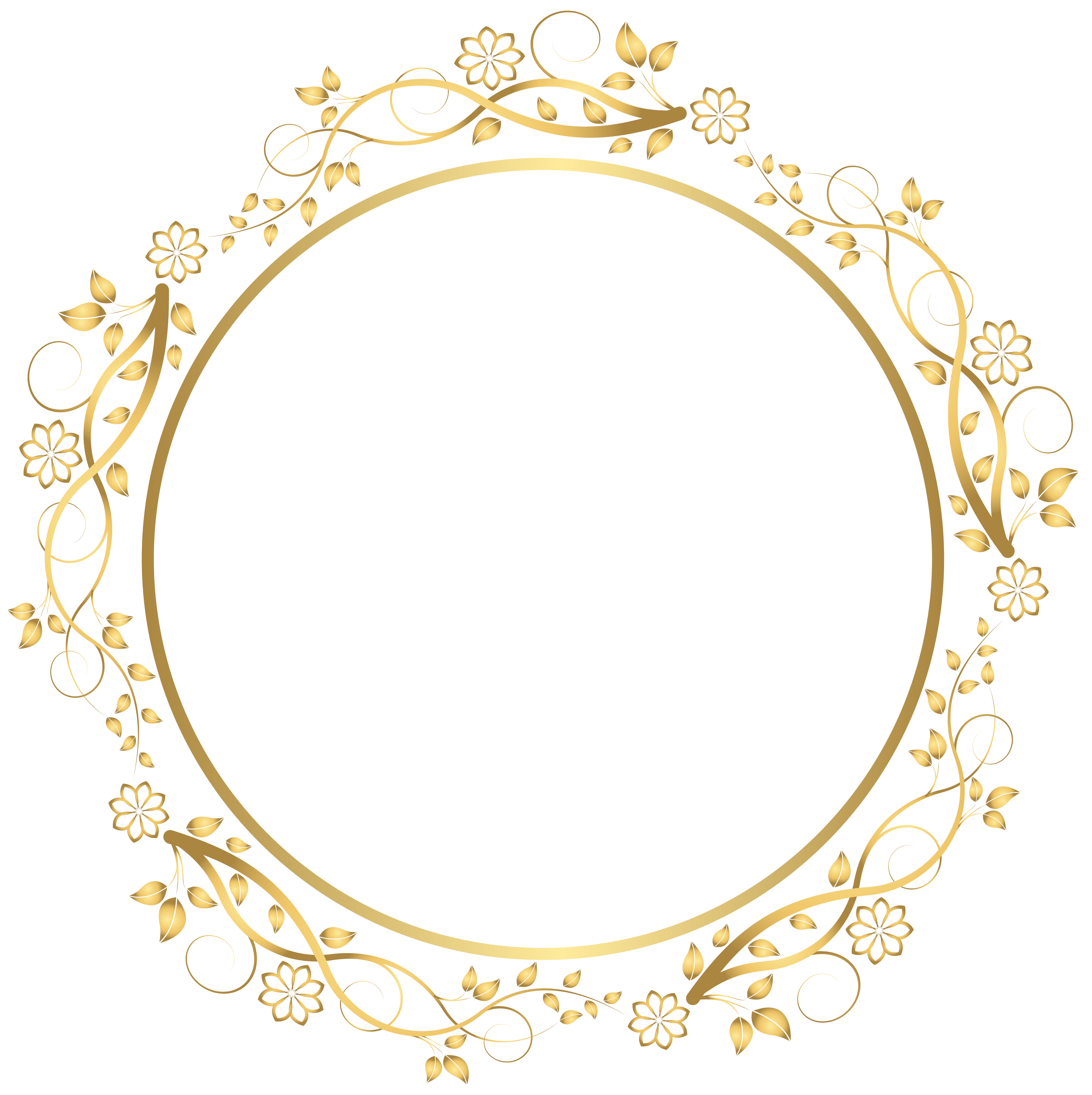 Gold Round Floral Border Transparent PNG Clip Art Image ...