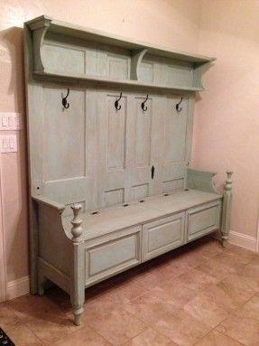 Repurposed old door, headboard, kitchen cabinet door, door jamb ...