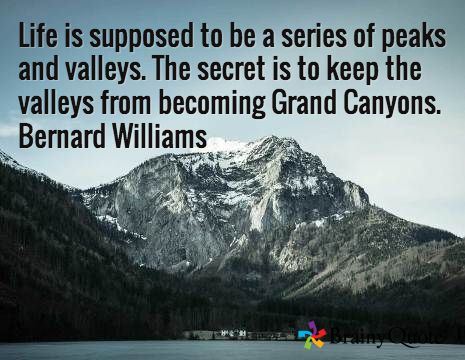 Life is supposed to be a series of peaks and valleys. The secret is to keep the valleys from becoming Grand Canyons. Bernard Williams