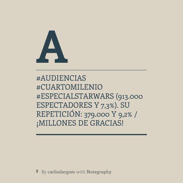 Audiencias #CuartoMilenio #EspecialStarWars (913.000 espectadores y ...