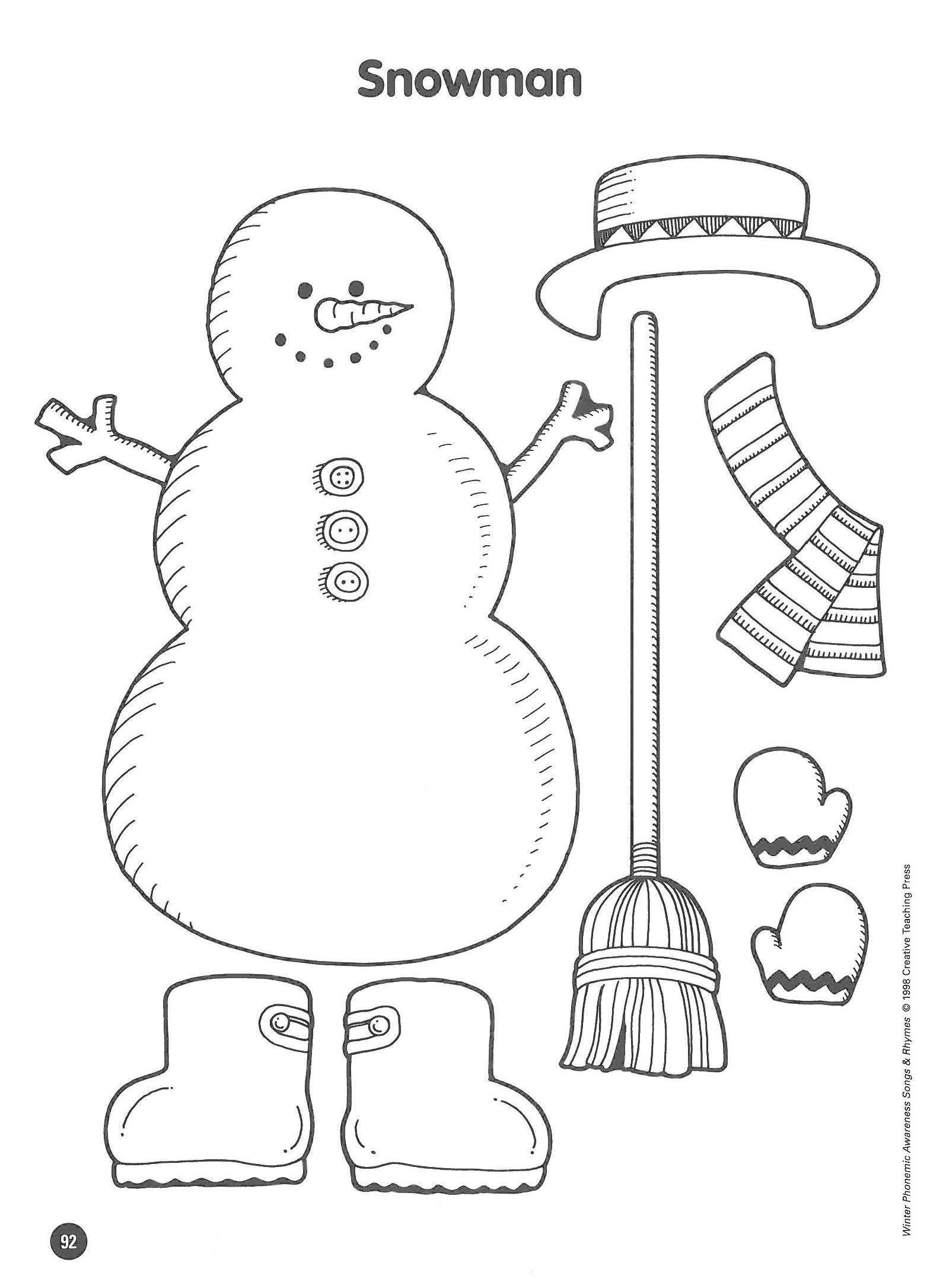 Snowman Math Worksheets Snowman Writing Paper Printable