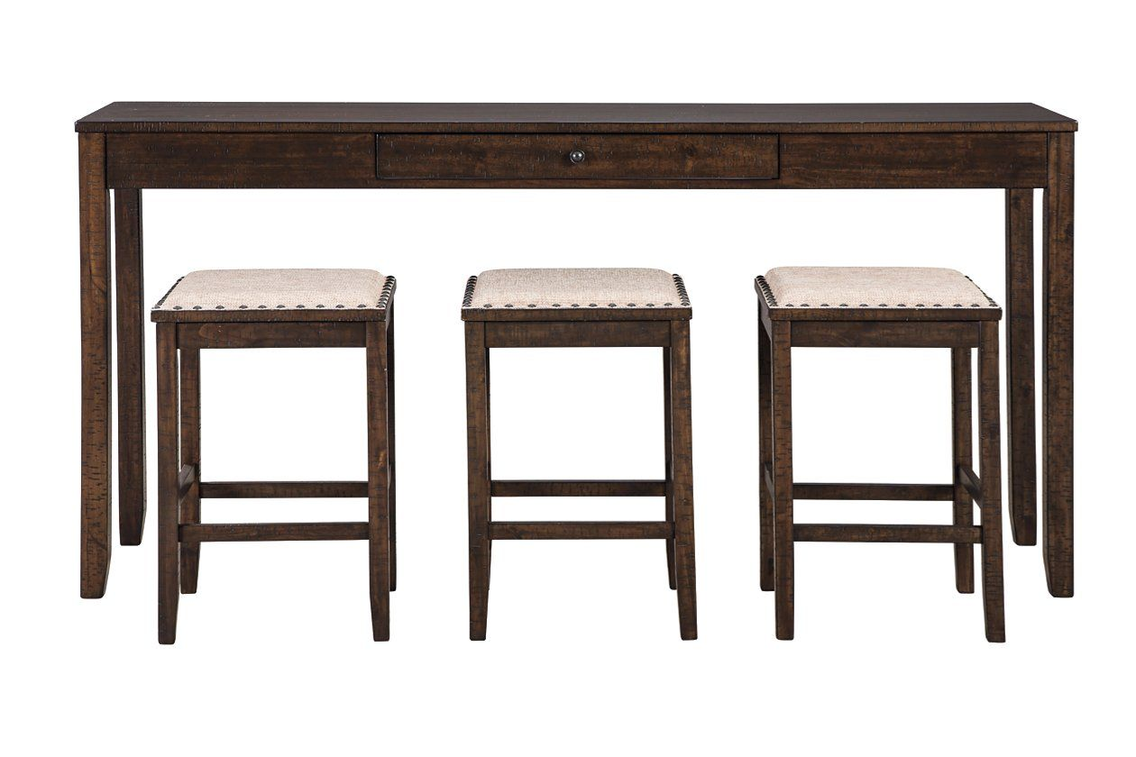 Rokane Counter Height Dining Table And Bar Stools Set Of 4 Ashley Furniture Homestore Counter Height Dining Room Tables Counter Height Dining Table Bar Stools