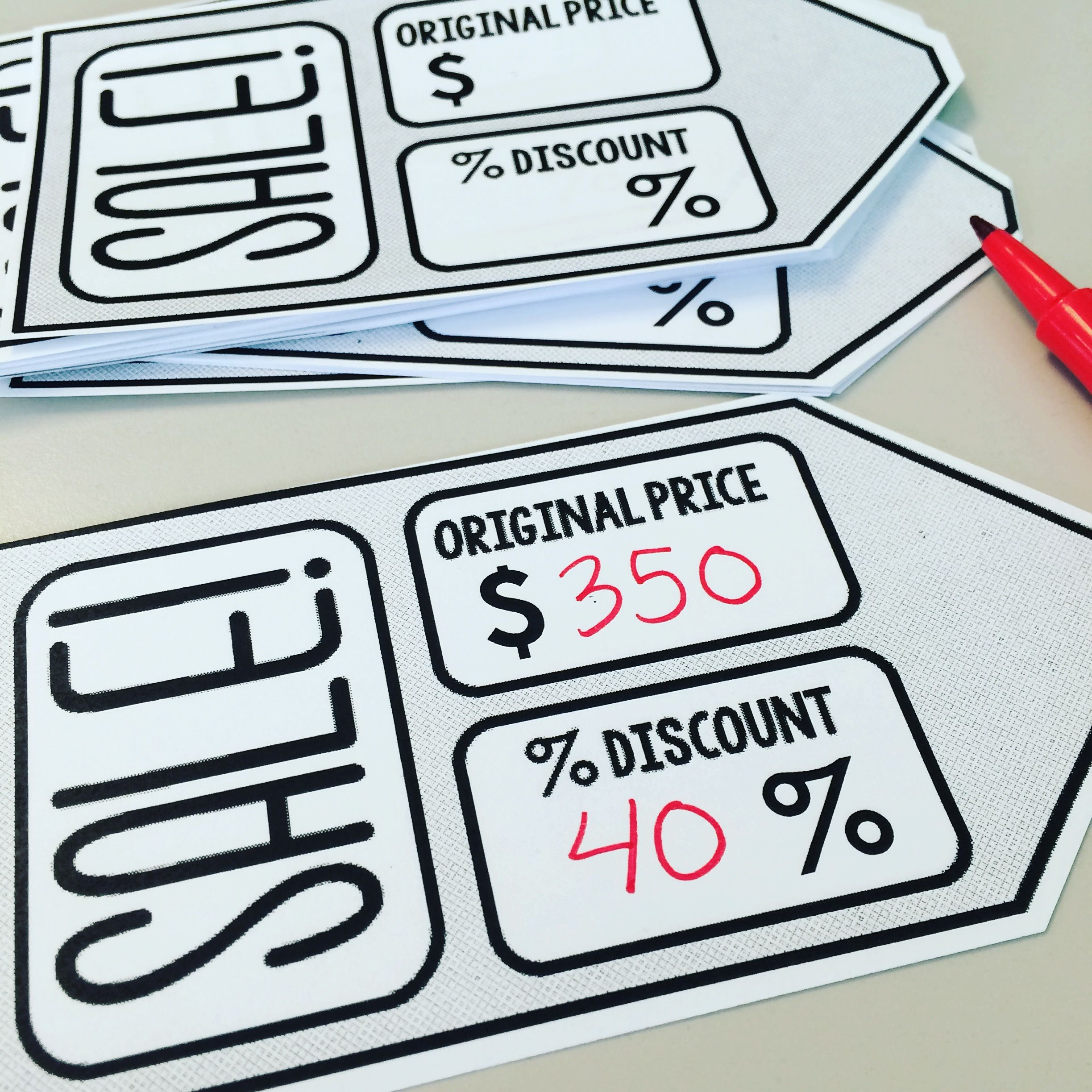 Editable sale tags for a percent discount activity in Consumer Math ...