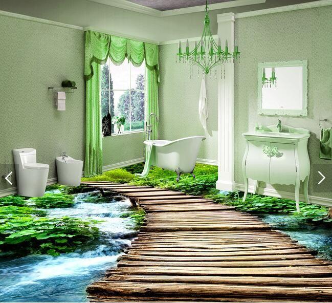 3d Pvc Flooring Custom Waterproof Wallpaper 3 D Bridge Watercourse 3d  Bathroom Flooring Picture Photo Wallpaper