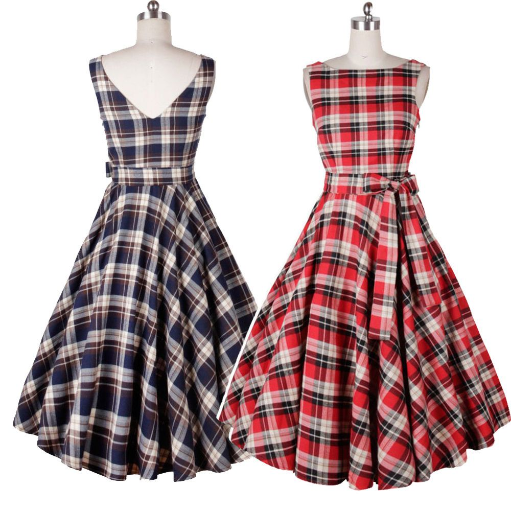 Details about retro s rockabilly hepburn plaids checks pinup
