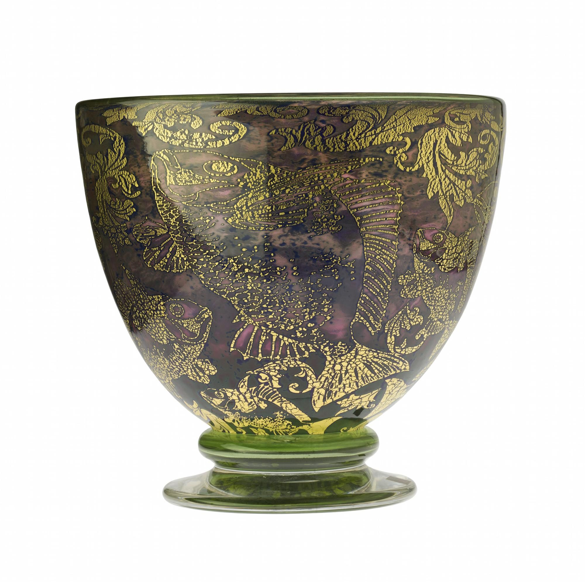 Fish Bowl, graal glass with cracked gold foil inclusions