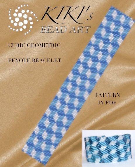 Peyote Pattern for bracelet - Blue cubes, cubic geometric peyote ...