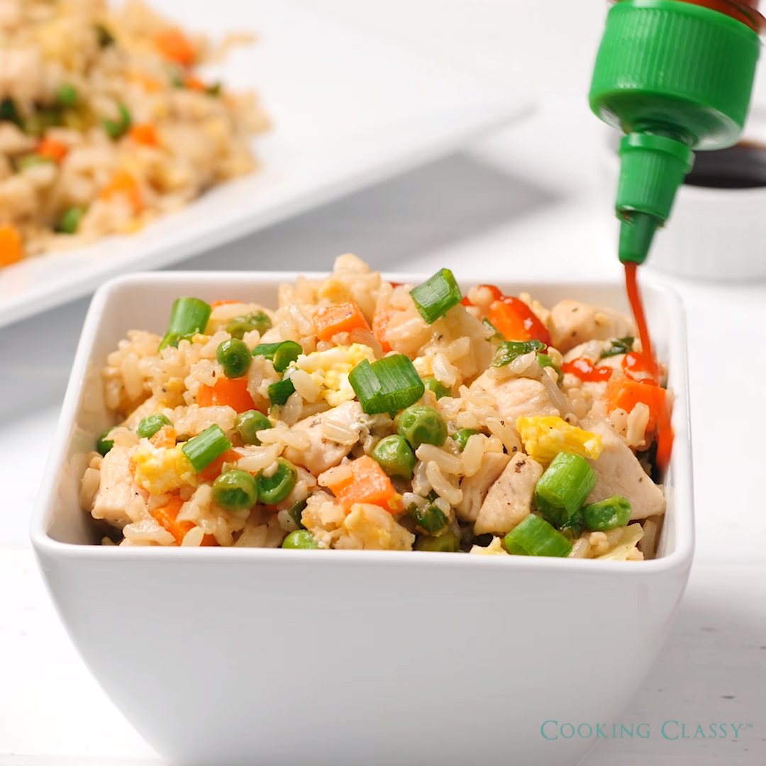 FAST AND FLAVORFUL! This is the perfect weeknight dinner and the whole family will love it! It's even better than take-out and it's made healthier with brown rice instead of white and chicken instead of ham.
