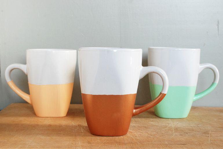 DIY Paint Dipped Mugs