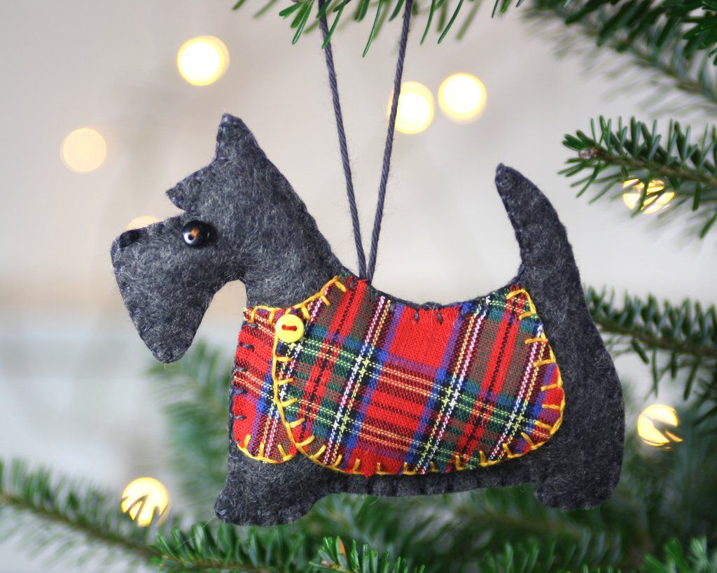 Scottie Dog Christmas Ornament, Dougal, Red coat.