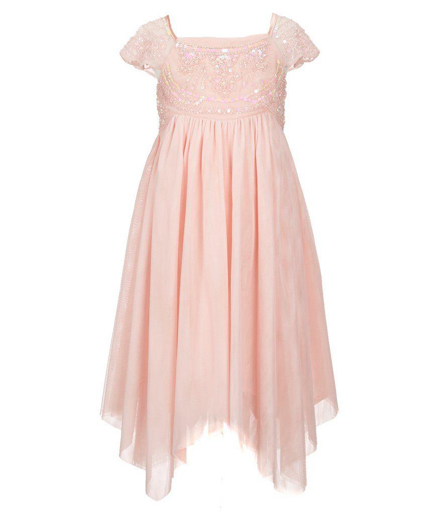 4d40c6784 Rare Editions Little Girls 2T-6X Sequin-Embellished-Brocade-Bodice  Handkerchief-Hem Dress