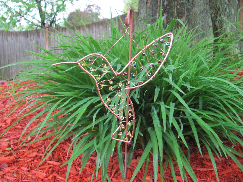 Copper wire beaded hummingbird garden plant stake suncatcher ...