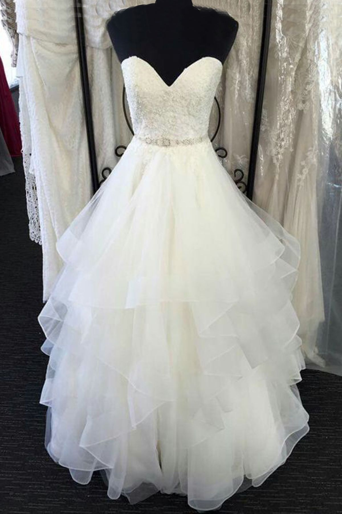 New design white tulle long layer lace wedding dress formal prom