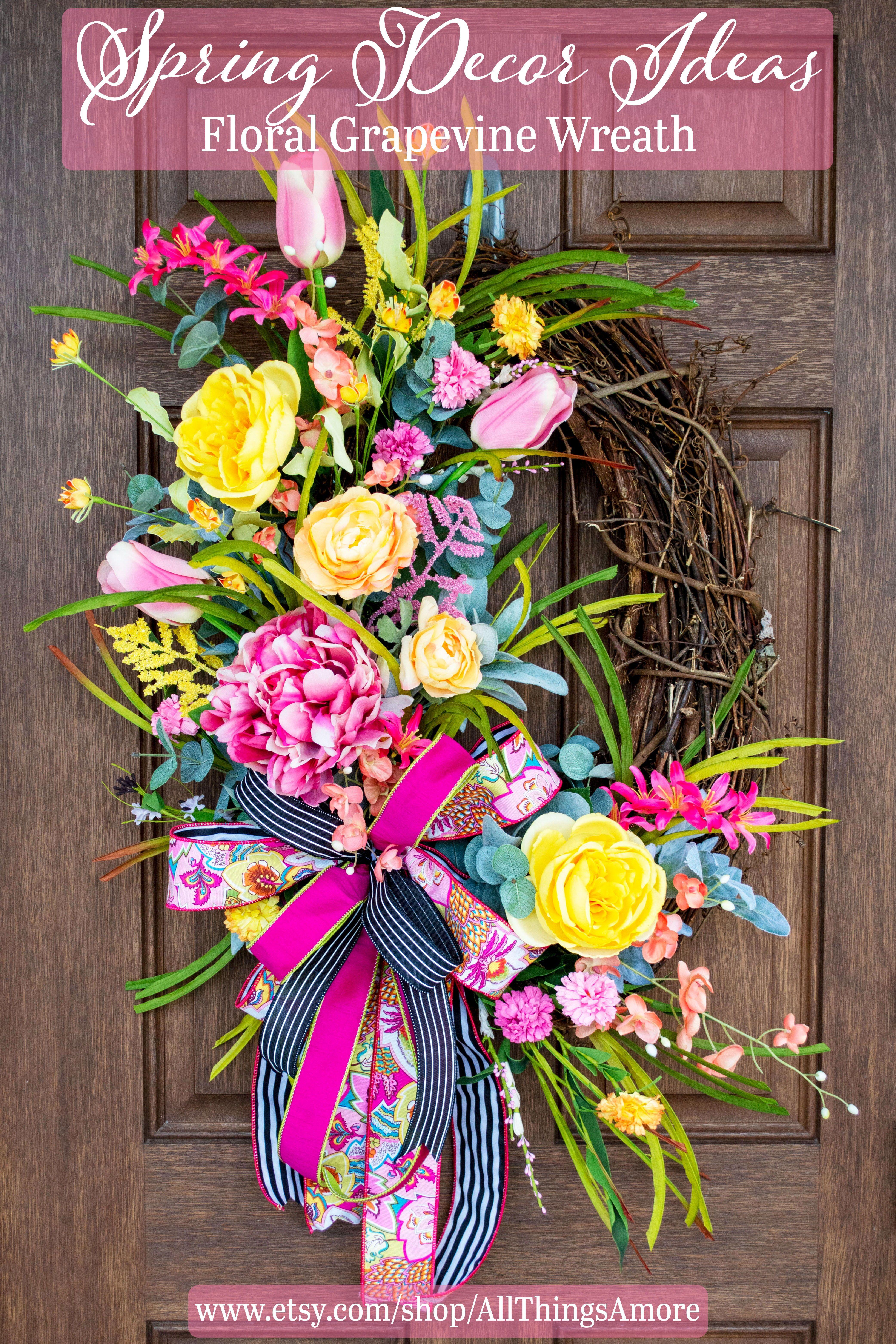 Photo of Spring wreath, summer wreath, spring decor, summer decor