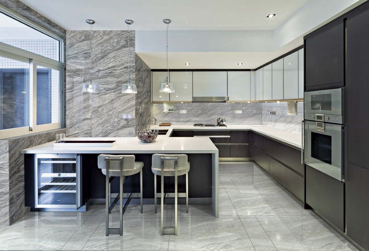 "Amazon 3"" x 3"" Porcelain Tile in 3  Morden kitchen design"