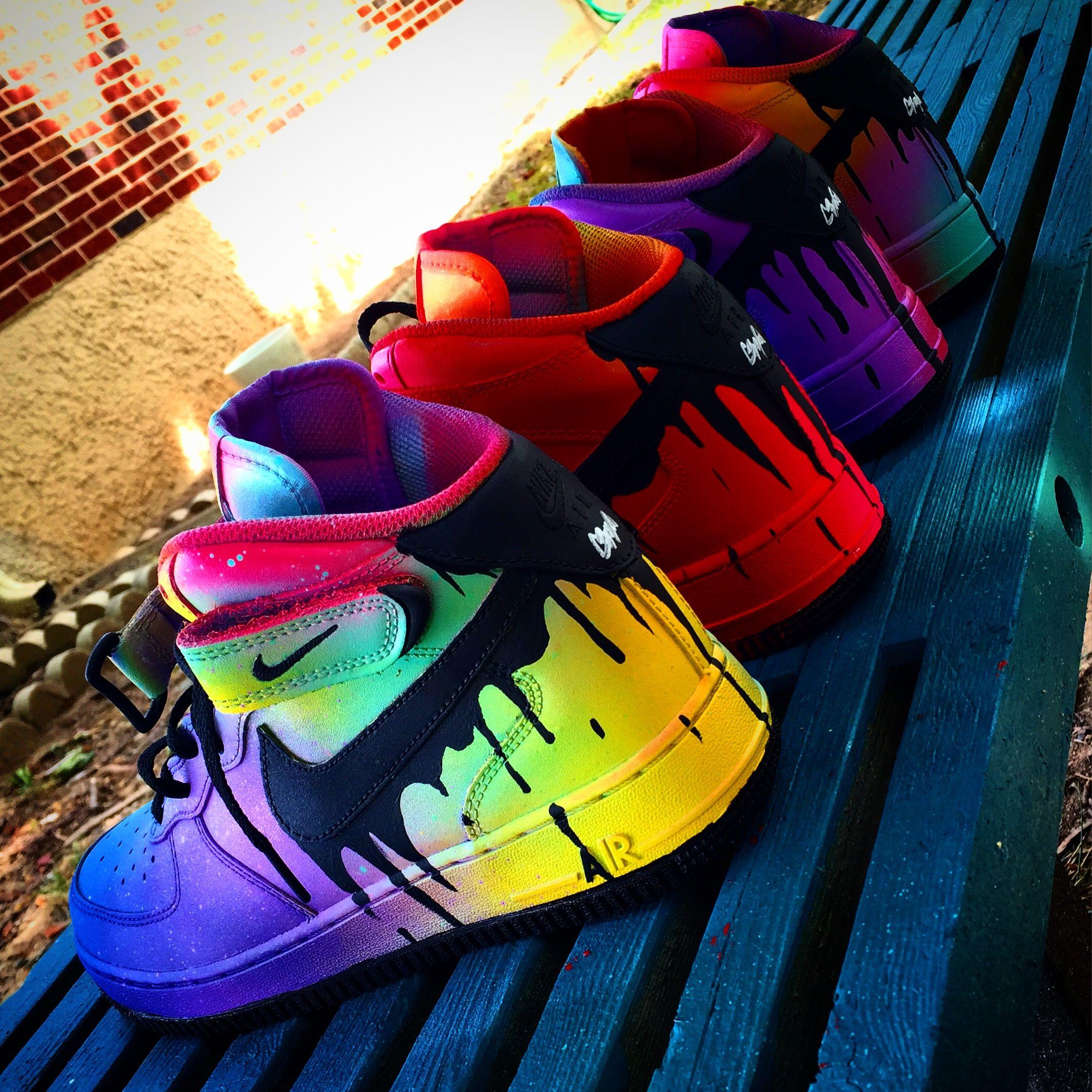 Custom neon Pink Nike Air force 1 Mid Top Trainers