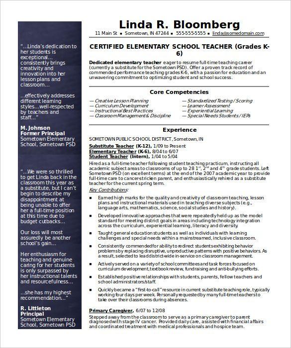 Free Resume Templates For Teachers Teacher resume