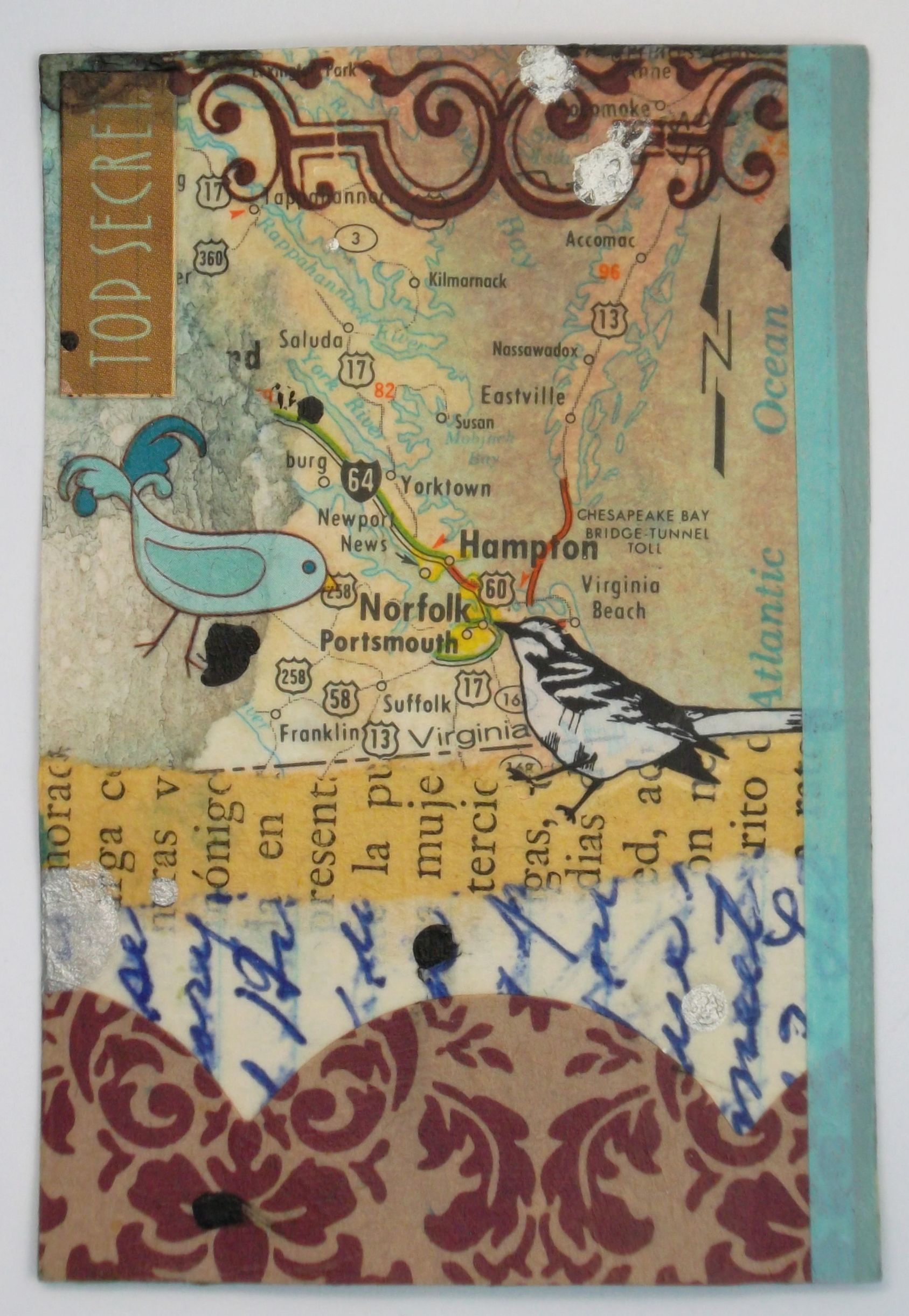 Handmade Artist Card Entitled Top Secret This Collaged Card