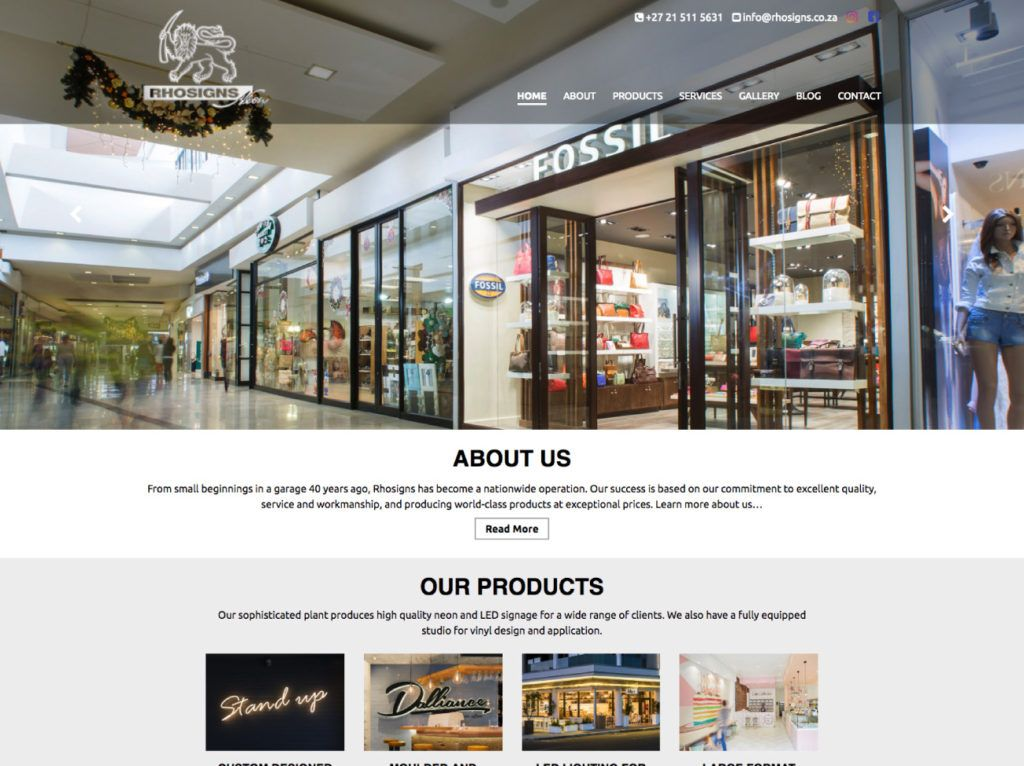 Fresh Contemporary Website Design And Web Development For Rhosigns Neon Based In Cape Town Wordpress Website Web Development Design Design Website Design