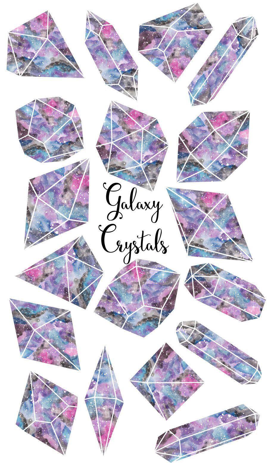 Galaxy cosmic. Crystals clipart gemstone watercolor