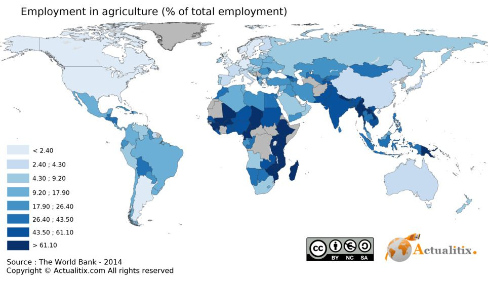 World map on Employment in agriculture ( of total