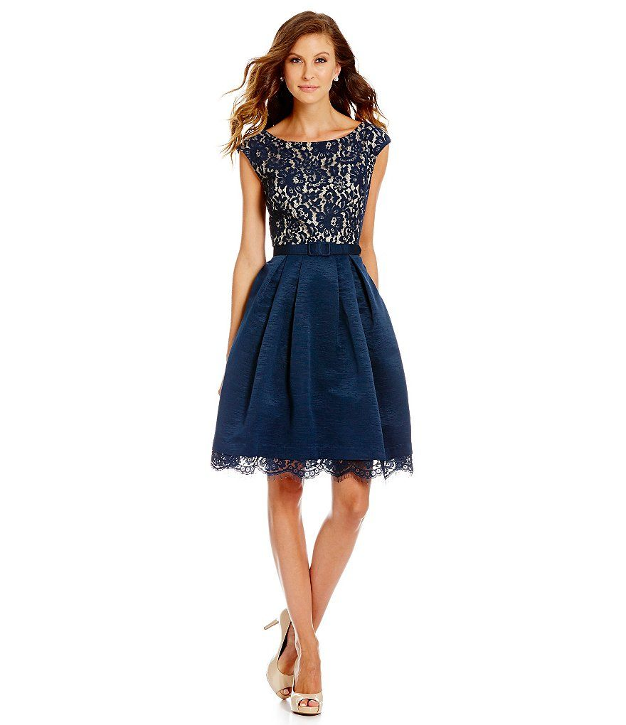 Eliza J Illusion Lace Bodice Boat Neck Fit-and-Flare Dress | My ...