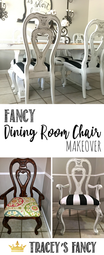 fancy dining room chairs chair swings outdoor glazed awesome blog posts pinterest tracey s makeover black and white upholstery