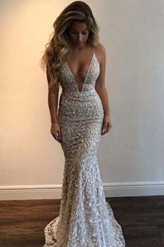 Gorgeous Deep V-Neck Spaghetti Straps Sleeveless Mermaid Long Prom Dresses #formaldresses