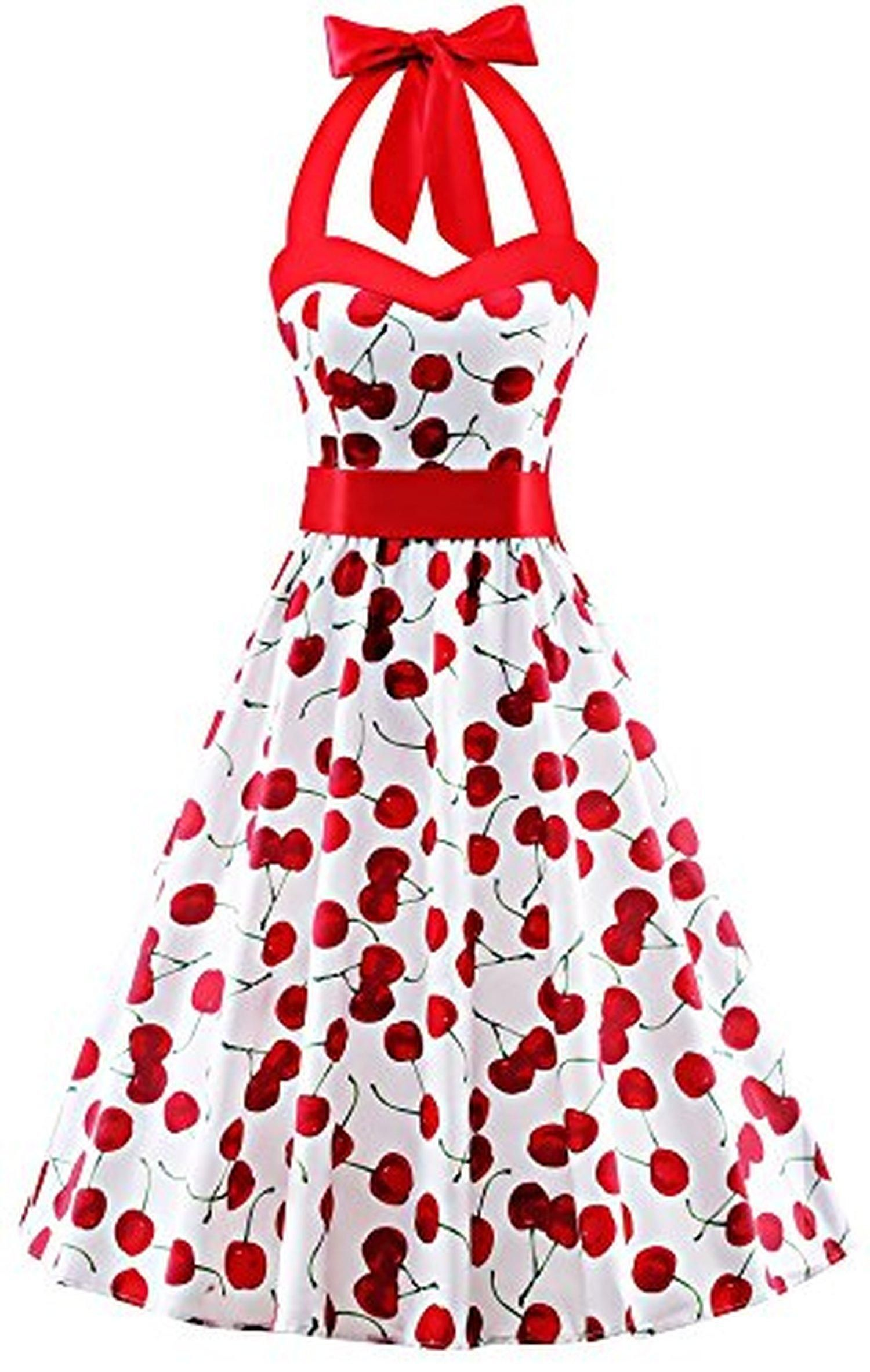 V Fashion 50s Rockabilly Halter Polka Dots Audrey Dress Retro ...