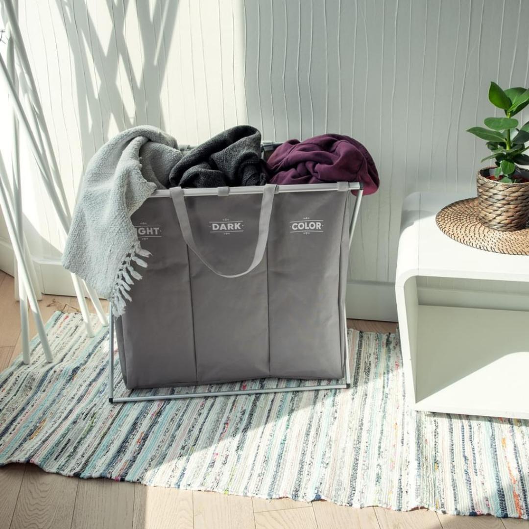Wäschekorb 3 Fächer Wäschesammler Sortierer - Wäsche Korb für Schmutzwäsche - Hell