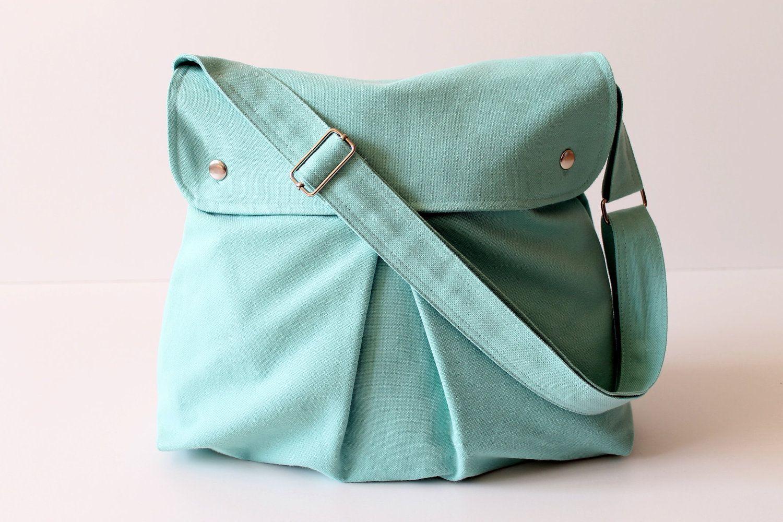 Modular Messenger Bag in Aqua Blue / Shoulder Bag / Laptop Bag / Diaper Bag / Travel Bag / Pleated Bag with flap and adjustable strap. $35.00, via Etsy.