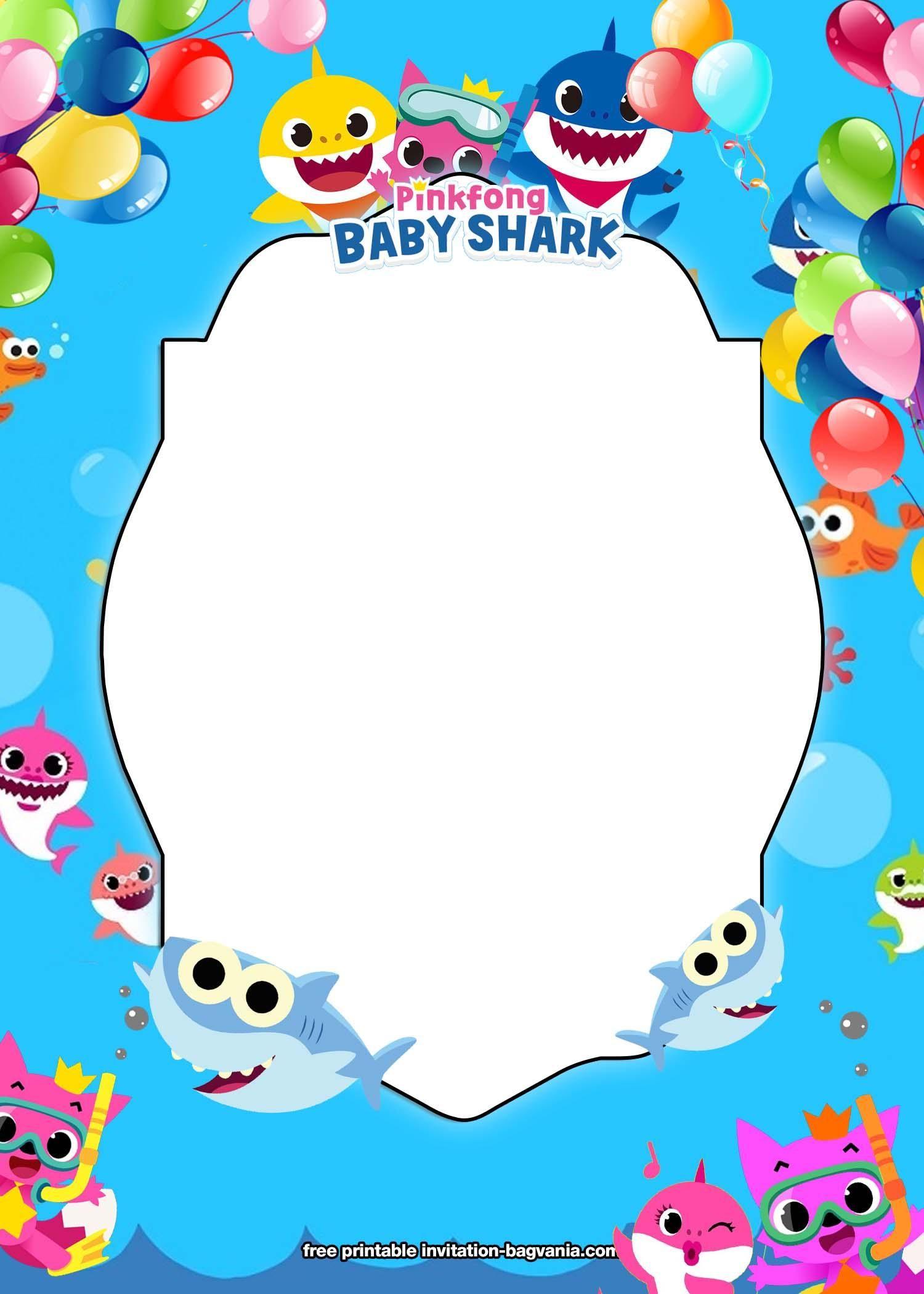 Baby Shark Birthday Invitation Template Free Download  Shark