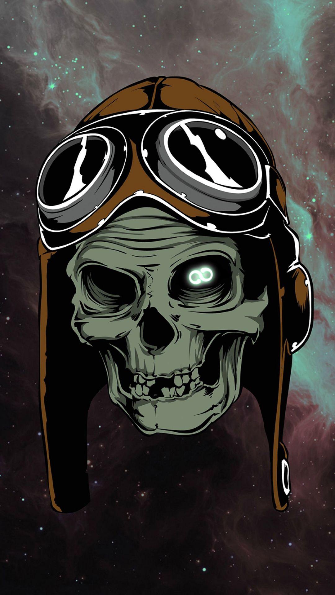 1080x1920 Обои череп, очки, космос Череп, Обои
