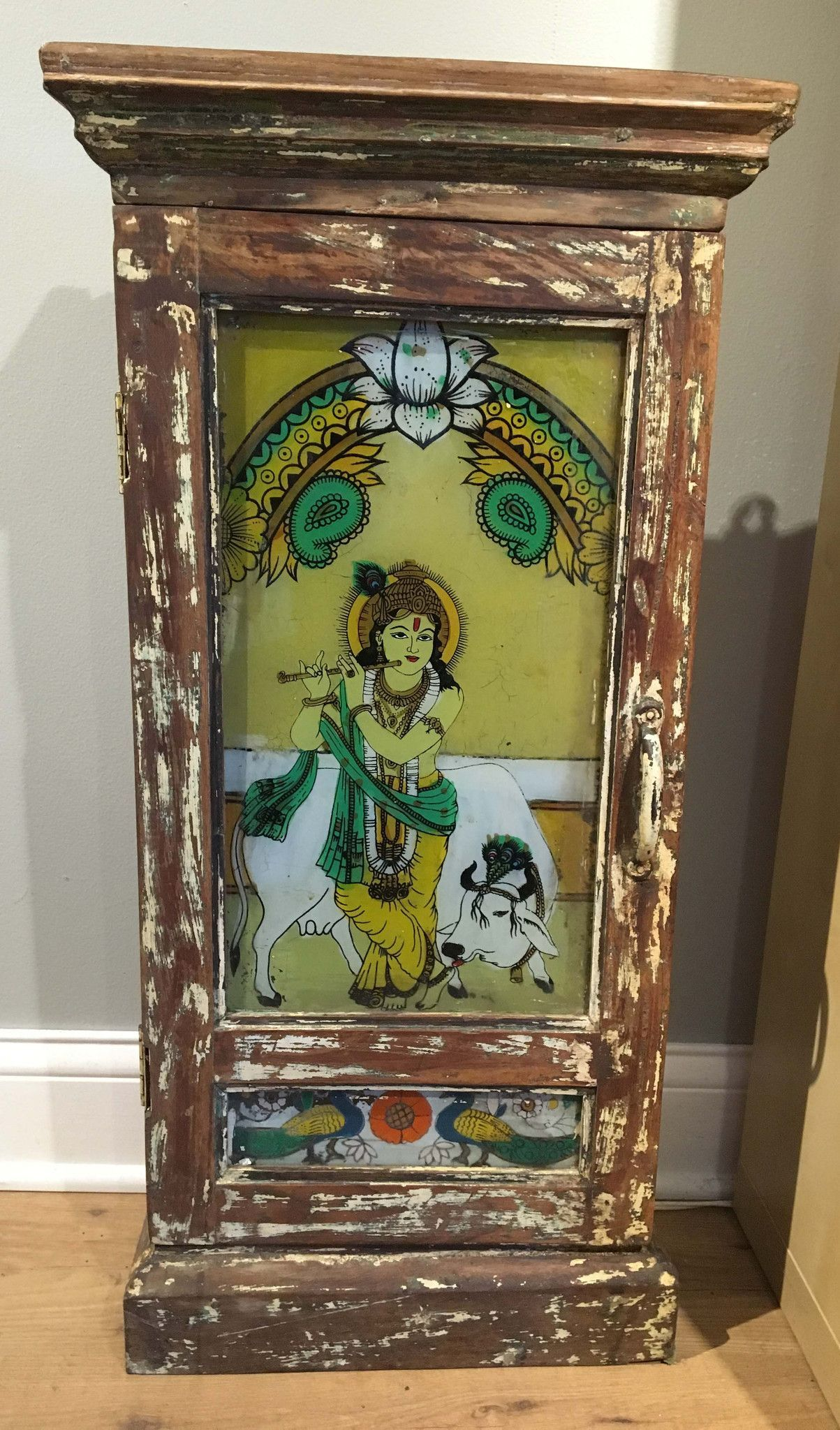 Vintage Medicine Cabinet From India Featuring Lord Krishna Motif (Ng3115)
