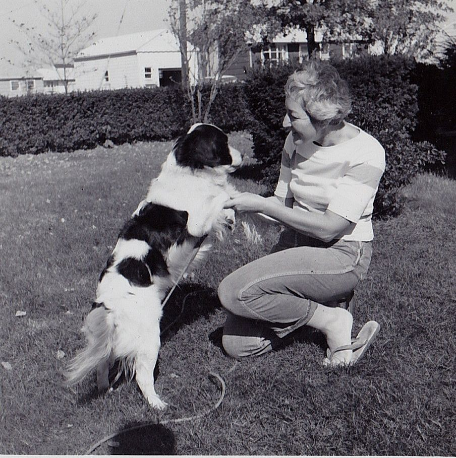 Old antique vintage photograph woman playing with puppy dog in