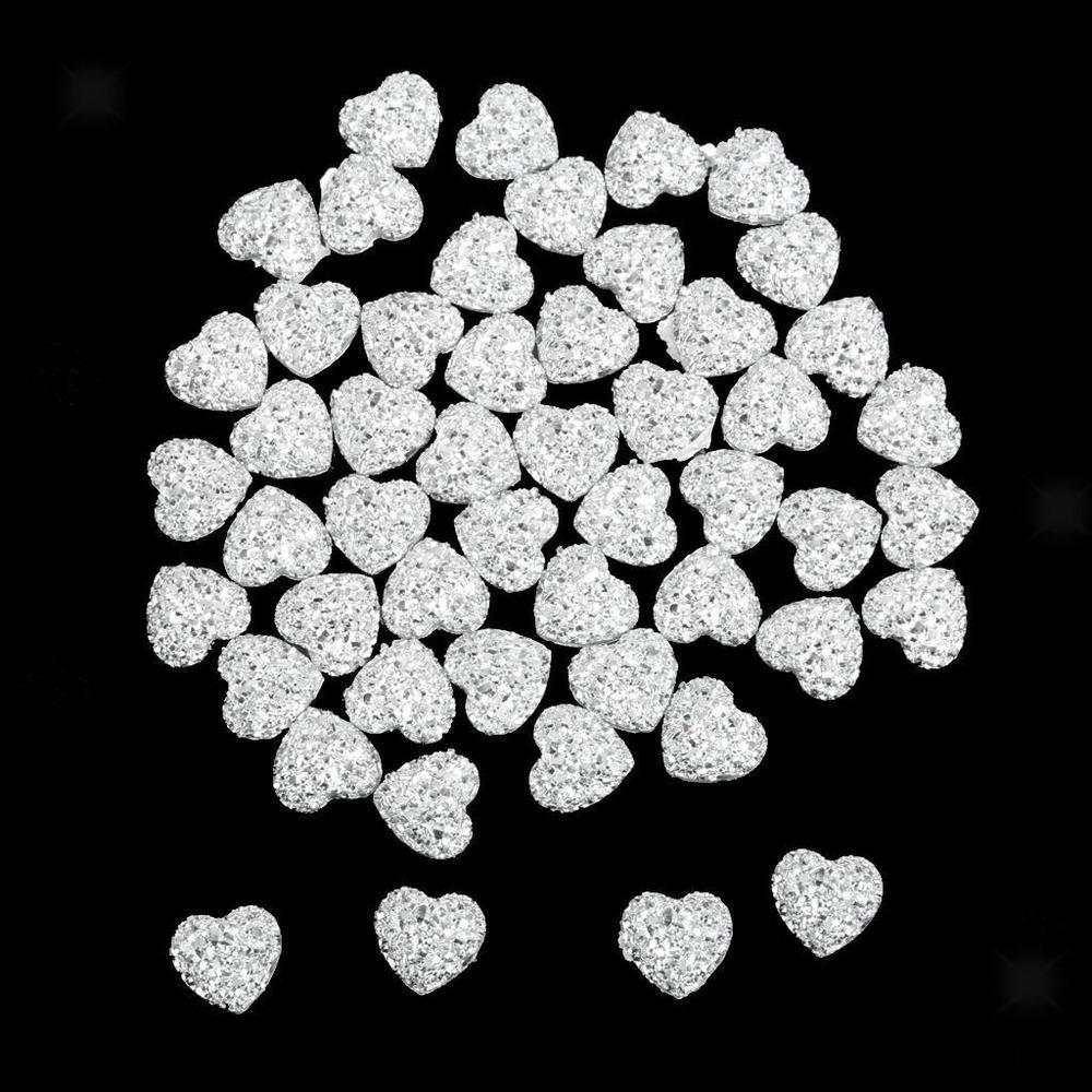 50PCS Silver Resin Heart flatback Scrapbooking for Phone//Wedding//Craft 12mm
